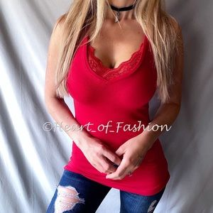 Red Lace Trim Deep V-Neck Sleeveless Top Tank